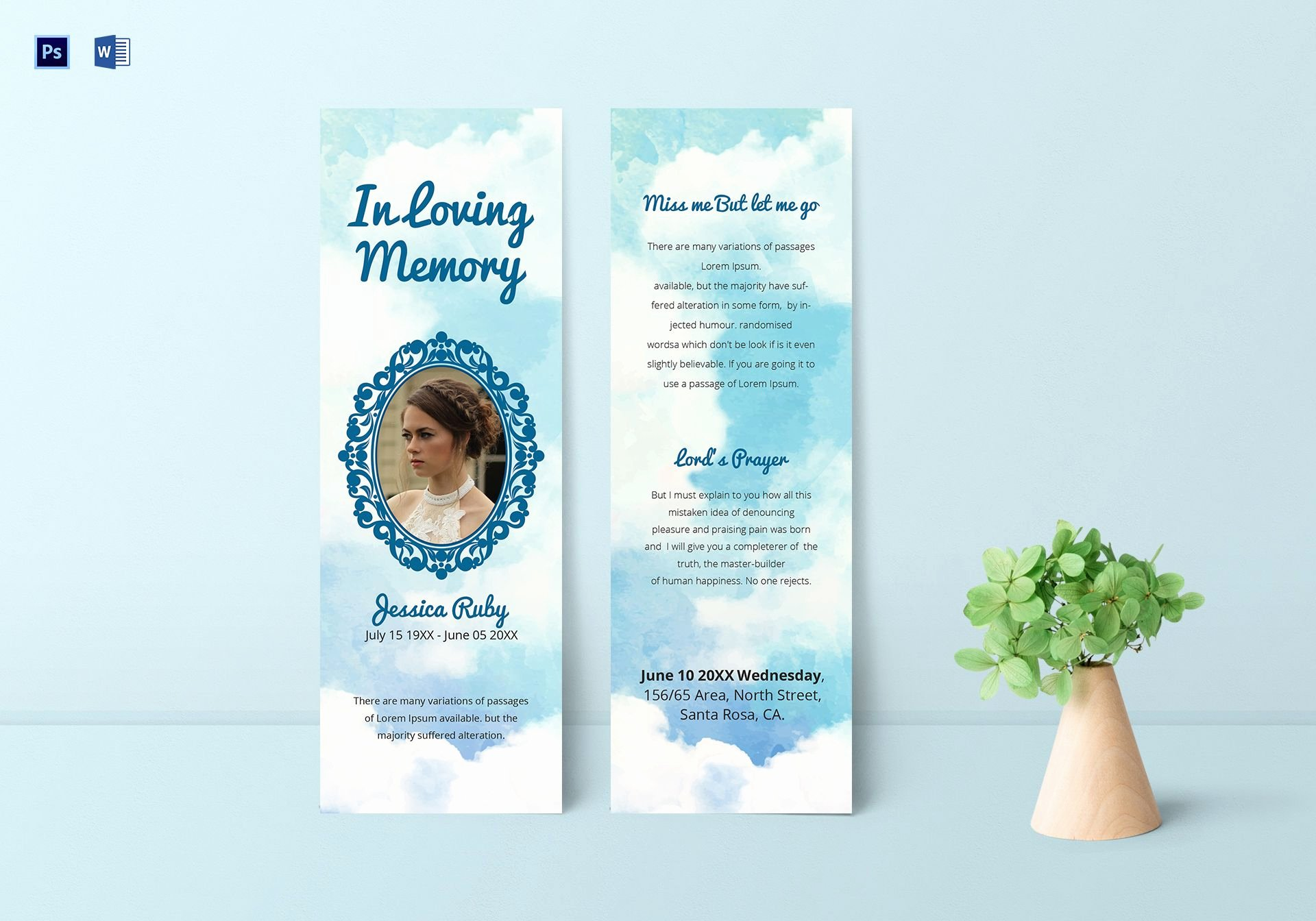 Memorial Bookmarks Template Free Best Of Editable Memorial Bookmark Template In Adobe Shop