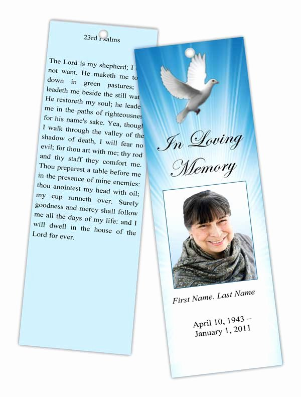 Memorial Bookmarks Template Free Elegant Memorial Bookmark Templates Funeral Bookmarks