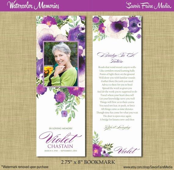 Memorial Bookmarks Template Free Fresh Funeral Memorial Bookmark and Prayer Card Printable