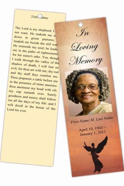 Memorial Bookmarks Template Free Lovely Funeral Program Templates