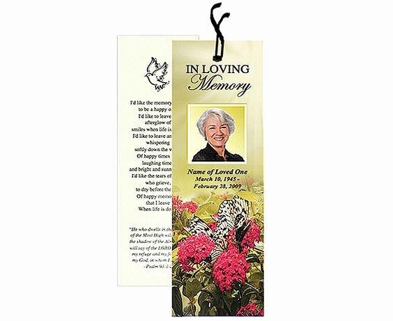 Memorial Bookmarks Template Free Luxury Memorial Bookmarks Bouquet Bookmark Template Add Ribbon