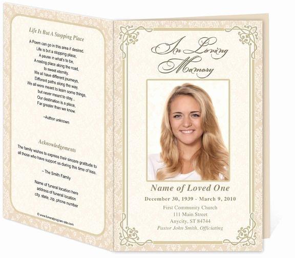 Memorial Card Template Free Elegant Download Edit Print Ready Made Program