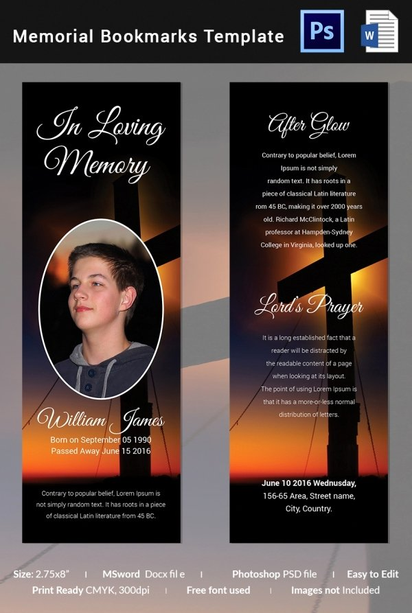 Memorial Card Template Free Inspirational 21 Funeral Bookmark Templates Word Psd