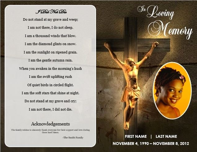 Memorial Card Template Free Inspirational Jesus Cross Bifold Funeral Card Template for Funeral