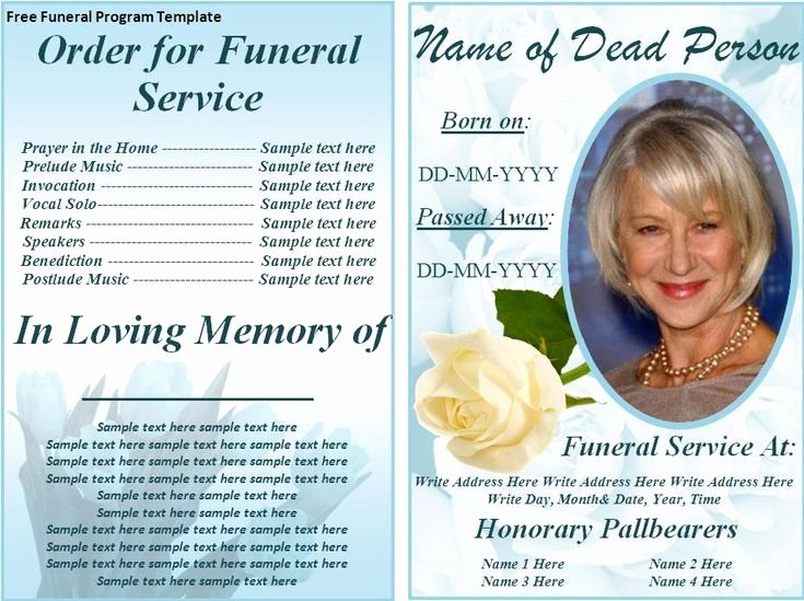 Memorial Card Template Free Lovely Free Funeral Program Templates