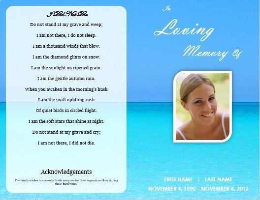Memorial Card Template Free New Single Fold Beach Funeral Program Template for