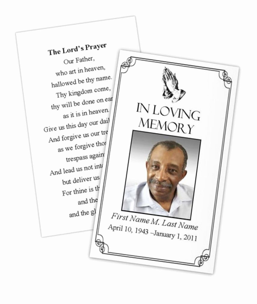 Memorial Cards Template Free Elegant Business Card Shop Template Funeral Prayer Card