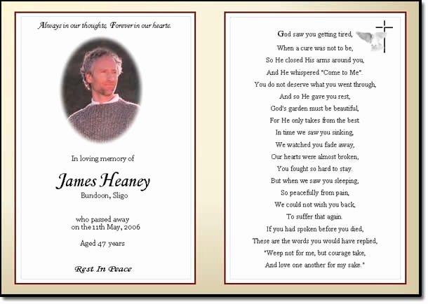 Memorial Cards Template Free Fresh Memorial Cards for Funerals Negocioblog