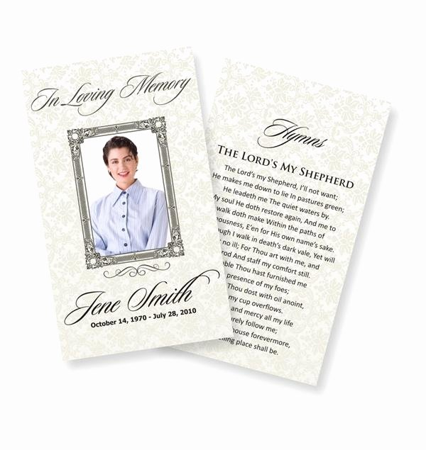 Memorial Cards Template Free Lovely Funeral Prayer Cards Examples
