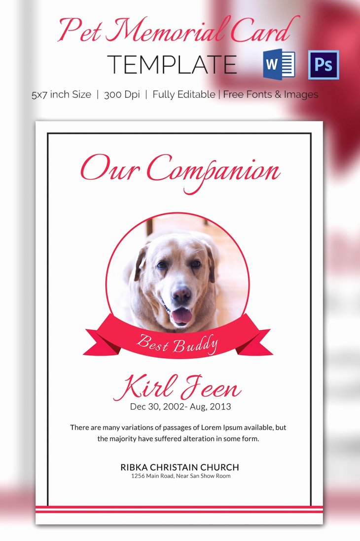 Memorial Cards Template Free New 5 Pet Memorial Card Template Word Psd Pages