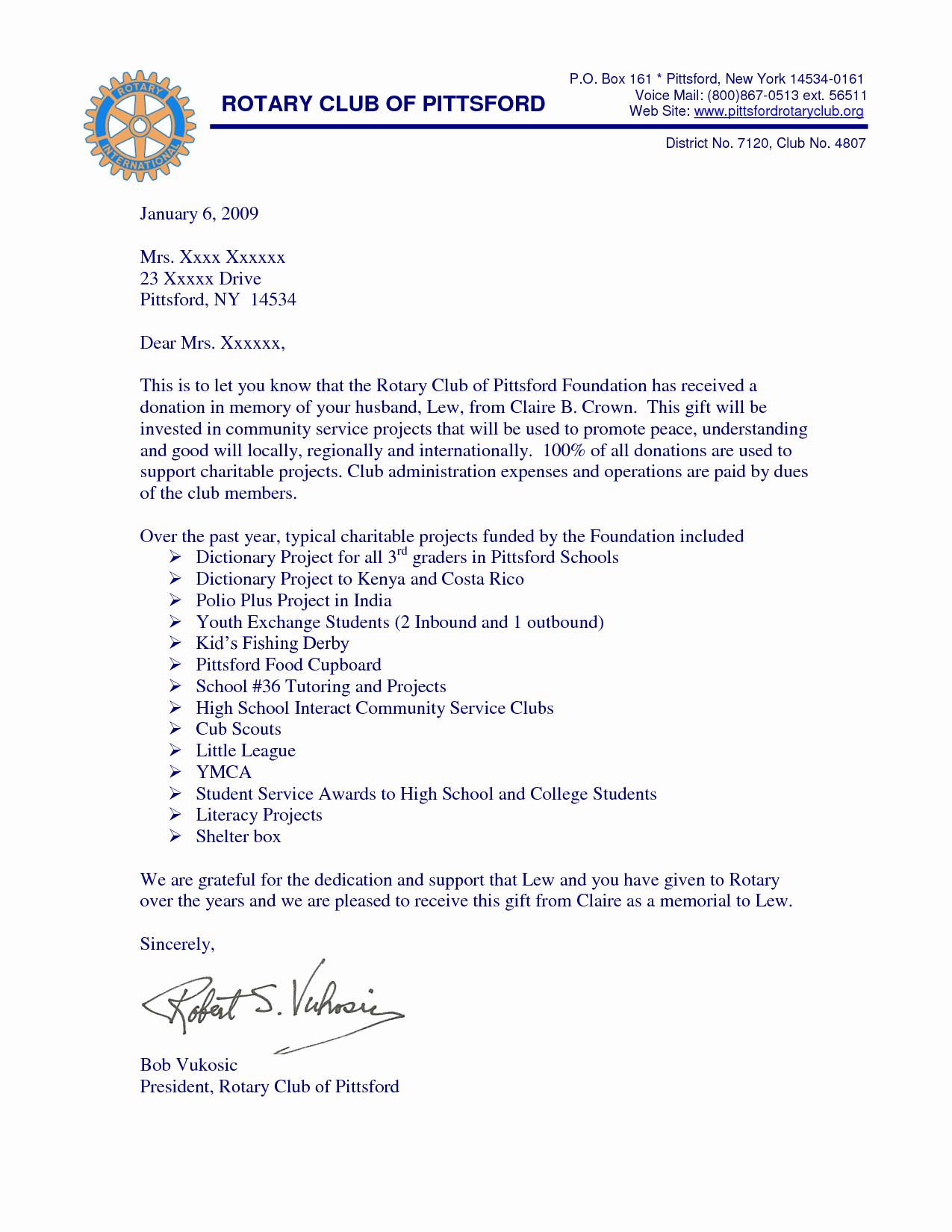 Memorial Donation Letter Template Inspirational Best S Of Gift Donation Letter Template Thank You