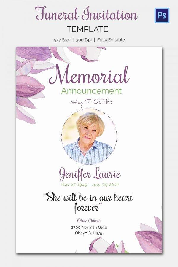 Memorial Service Announcement Template Beautiful Memorial Invitation Templates Free Templates Resume