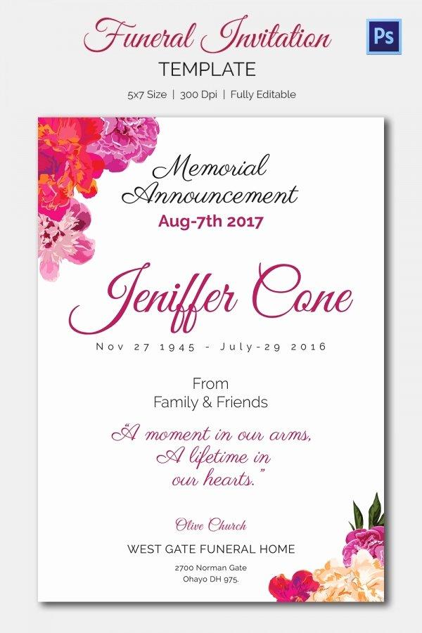 Memorial Service Announcement Template Elegant Funeral Invitation Template – 12 Free Psd Vector Eps Ai