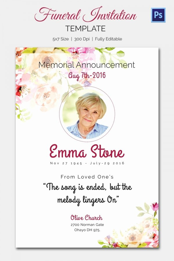 Memorial Service Announcement Template Luxury Funeral Invitation Template – 12 Free Psd Vector Eps Ai