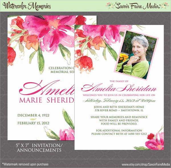 Memorial Service Announcement Template New 12 Sample Funeral Invitation Templates