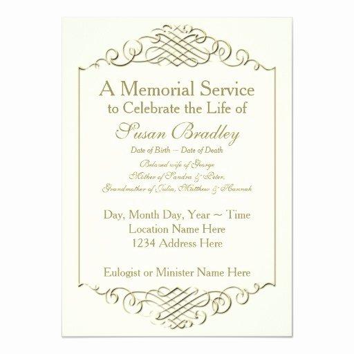 Memorial Service Announcement Template Unique Elegant Golden Vintage Frame Memorial Service 4 5x6 25