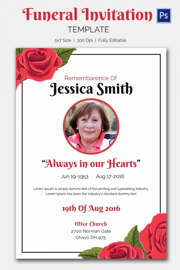 Memorial Service Invitation Template Awesome 15 Funeral Invitation Templates – Free Sample Example