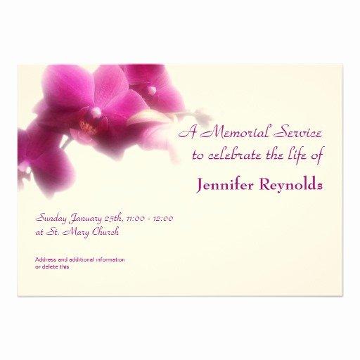 "Memorial Service Invitation Template Beautiful Memorial Service Announcement 5"" X 7"" Invitation Card"