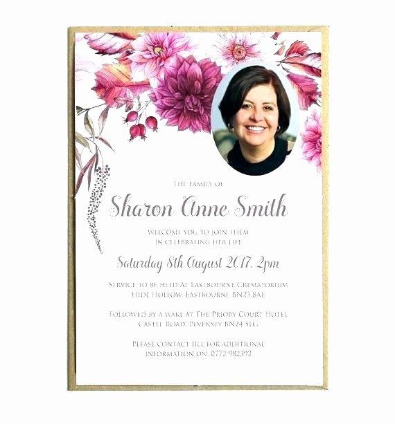 Memorial Service Invitation Template Beautiful Sample Funeral Invitation Funeral Invitation Template Free