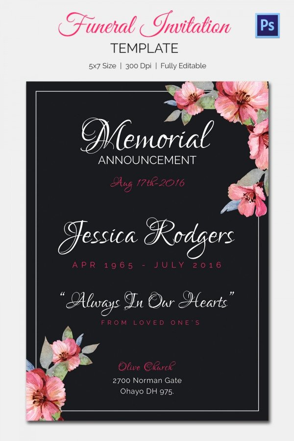 Memorial Service Invitation Template Best Of 15 Funeral Invitation Templates – Free Sample Example