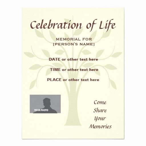 Memorial Service Invitation Template Best Of Memorial Celebration Of Life Tree Of Life Invitation