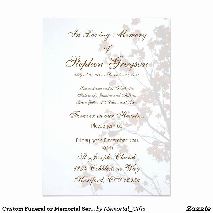 "Memorial Service Invitation Template Elegant Custom Funeral or Memorial Service Announcement 5"" X 7"
