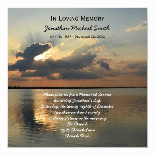 Memorial Service Invitation Template Fresh Memorial Service Announcement Invitation Sunset
