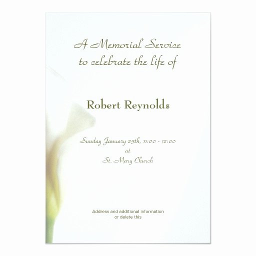 Memorial Service Invitation Template Lovely Memorial Service Announcement