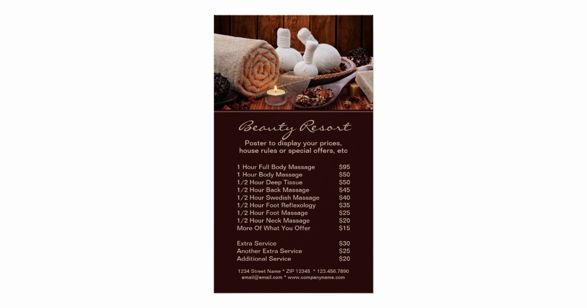 Menu Of Services Template Awesome Promotional Spa Menu Services Poster Template