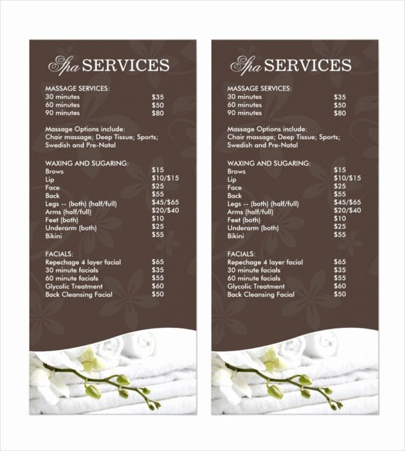 Menu Of Services Template Best Of 24 Spa Menu Templates – Free Sample Example format