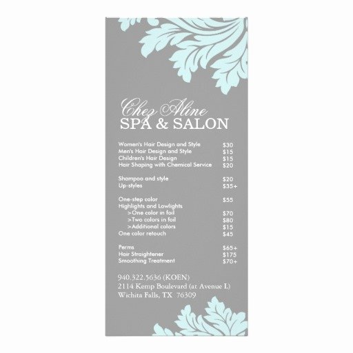 Menu Of Services Template Elegant Hair Salon Service Menu Template