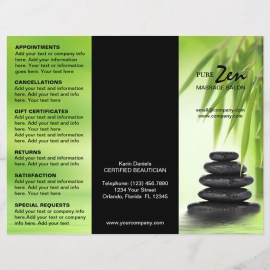Menu Of Services Template Elegant Spa Massage Salon Service Menu Brochure Template