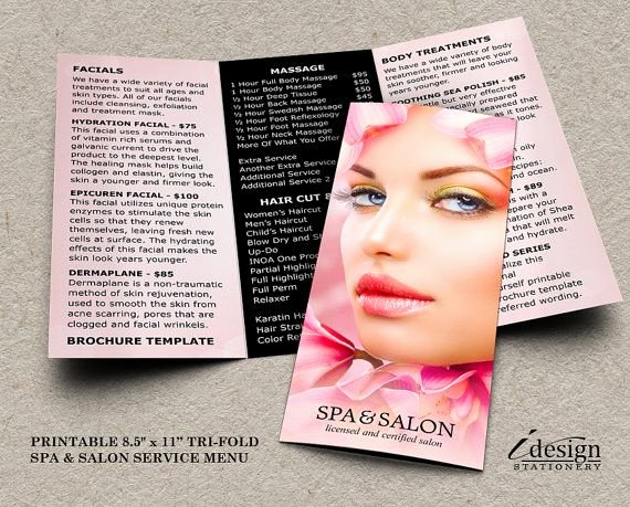 Menu Of Services Template Inspirational 89 Best Images About Spa and Salon Flyers Brochures
