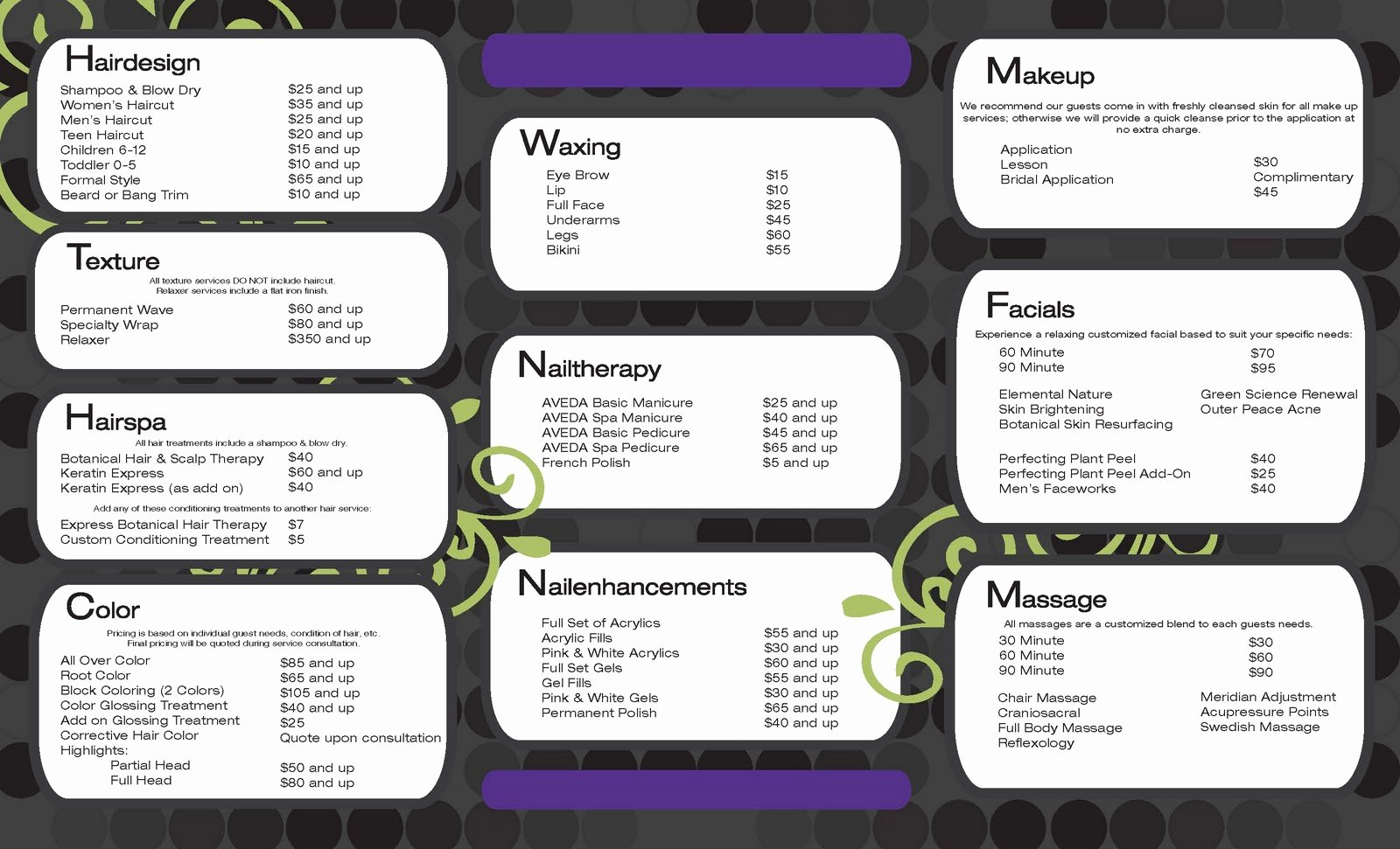 Menu Of Services Template Inspirational Tatum Criner Mcwatters Portfolio Trillium Salon and Spa