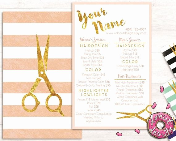 Menu Of Services Template Lovely Premade Gold Striped Hair Stylist Service List Price List