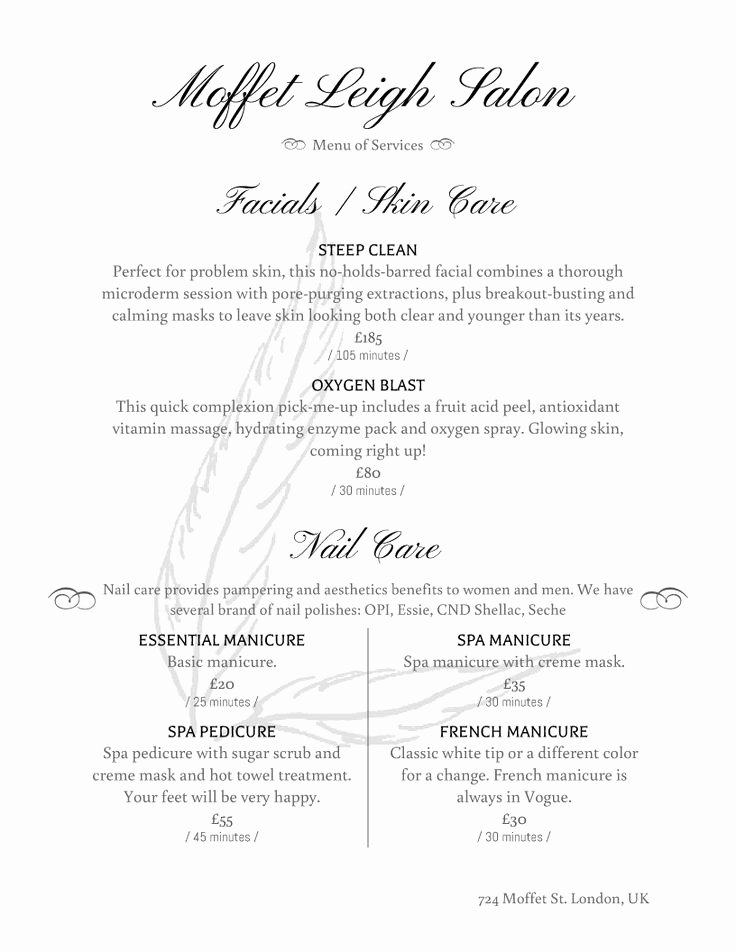 Menu Of Services Template Luxury 254 Best Images About Spa Decor On Pinterest