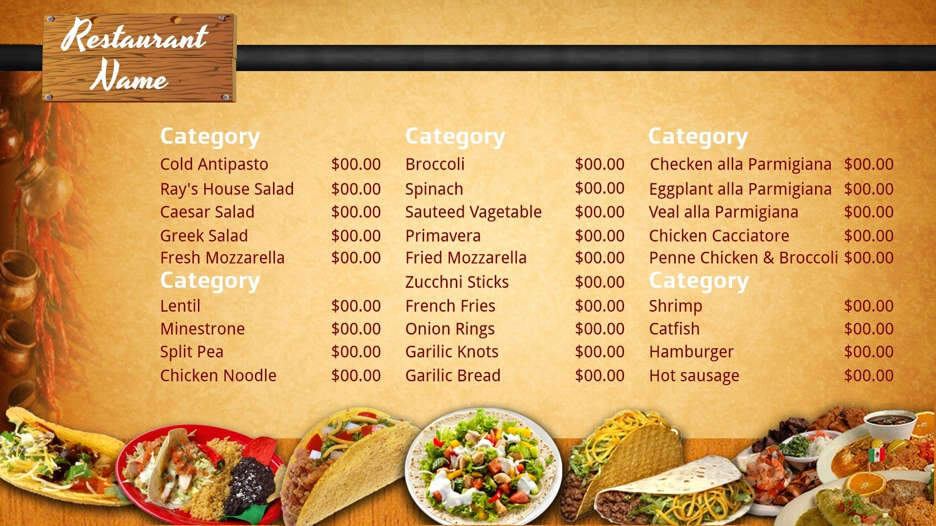 Mexican Restaurant Menu Template Awesome Blank Mexican Menu