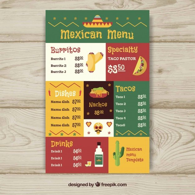 Mexican Restaurant Menu Template Awesome Flat Mexican Food Menu Template Vector
