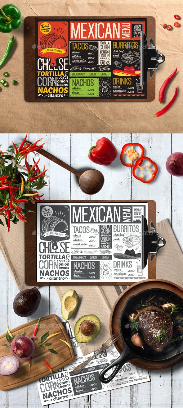 Mexican Restaurant Menu Template Awesome Mexican Food Menu by Barcelonadesignshop