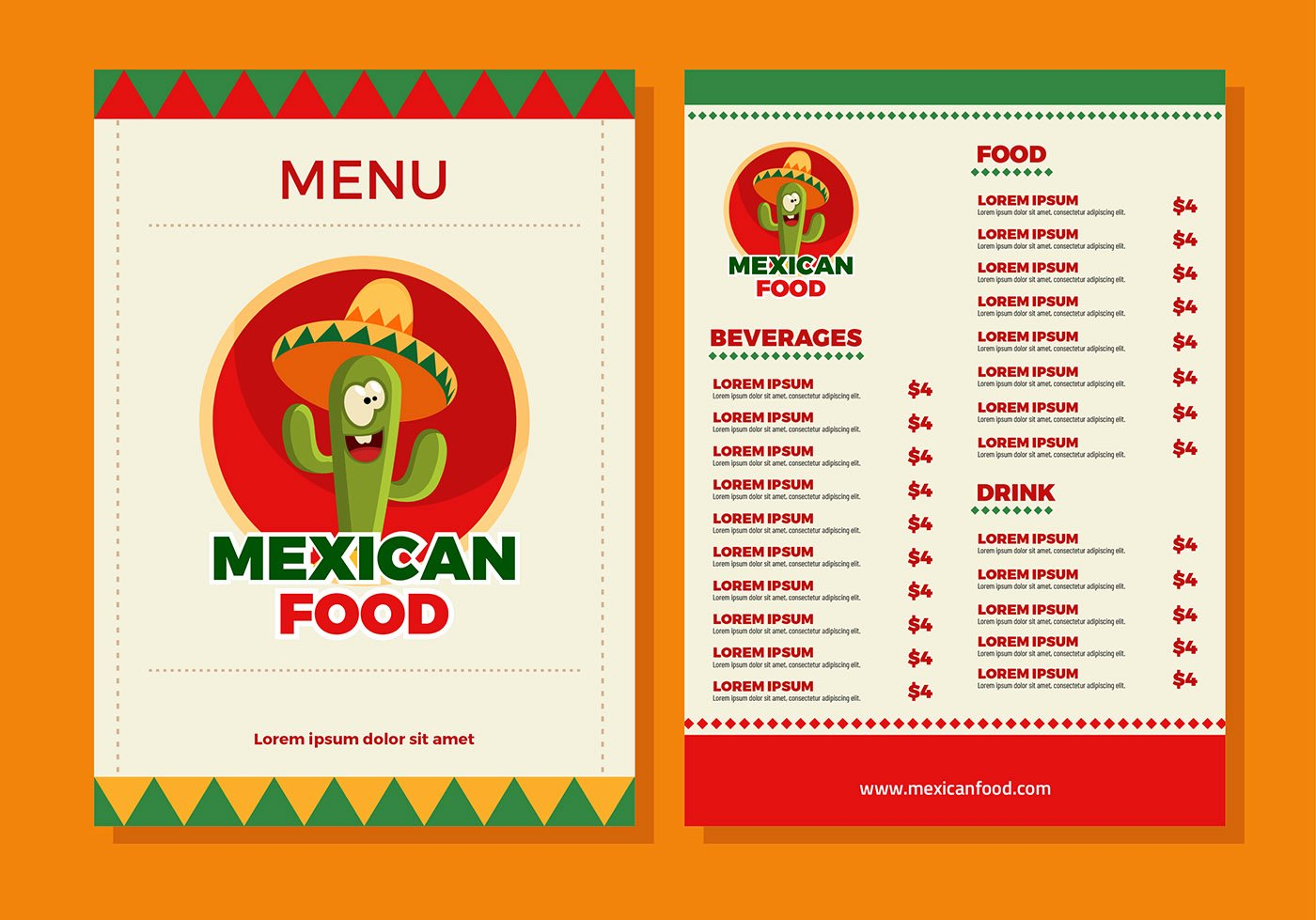 Mexican Restaurant Menu Template Beautiful Mexican Food Menu Template Vector Download Free Vector