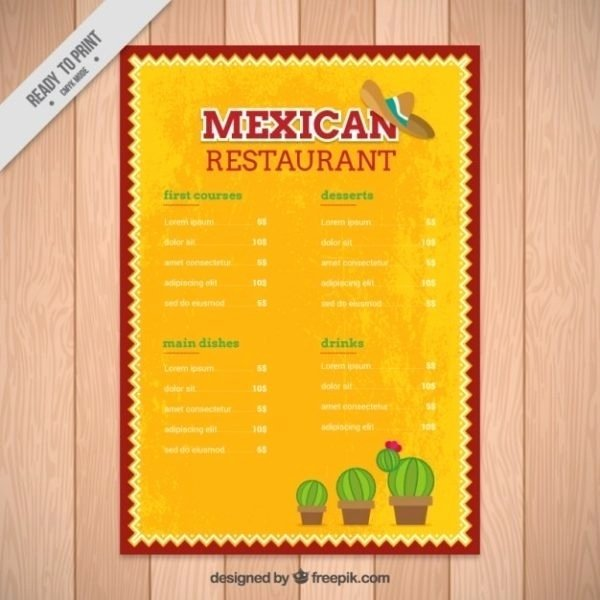 Mexican Restaurant Menu Template Best Of Mexican Menu Template Free Download