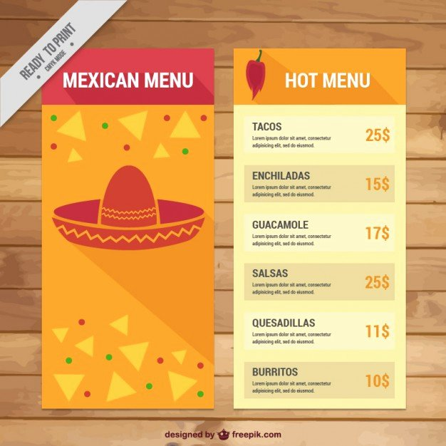Mexican Restaurant Menu Template Elegant Mexican Menu Template with Nachos Vector