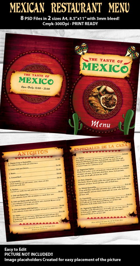 Mexican Restaurant Menu Template Elegant Restaurant Psd Menu