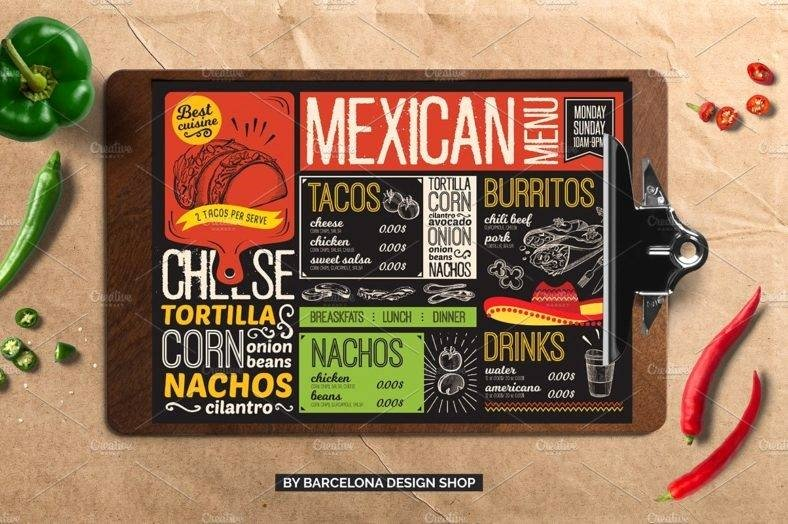 Mexican Restaurant Menu Template Fresh 11 Mexican Menu Designs & Templates Psd Ai