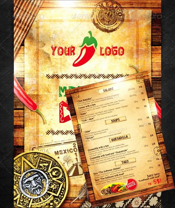 Mexican Restaurant Menu Template Fresh 50 Great Restaurant Food Menu Print Templates