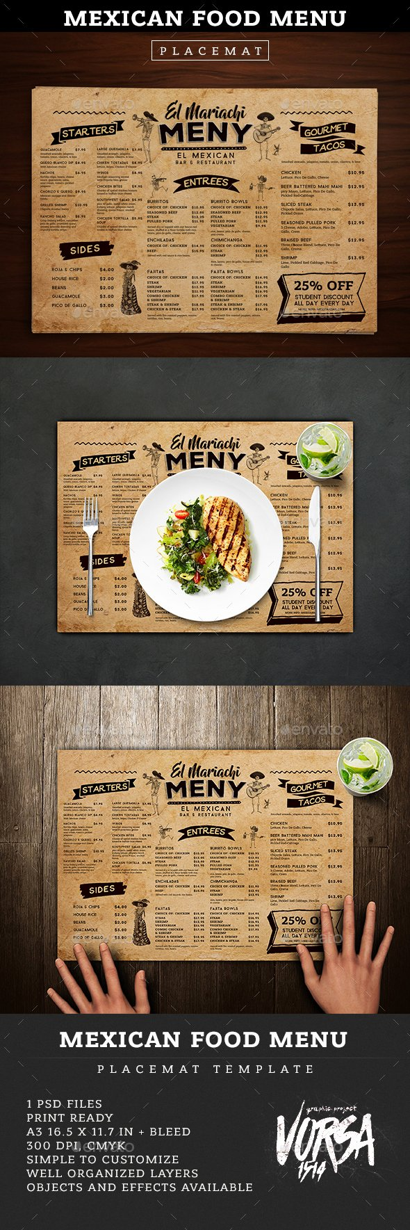 Mexican Restaurant Menu Template Inspirational Mexican Food Menu Placemat Template by Vorsa