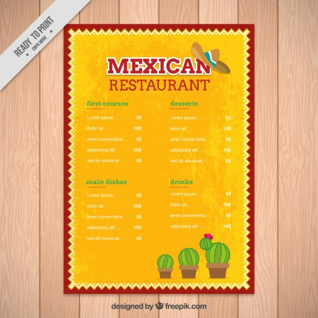 Mexican Restaurant Menu Template Lovely Yellow Mexican Menu Template with Cactus Vector