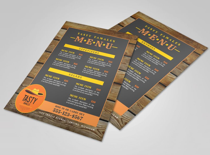 Mexican Restaurant Menu Template New Tasty Mexican Restaurant Menu Template