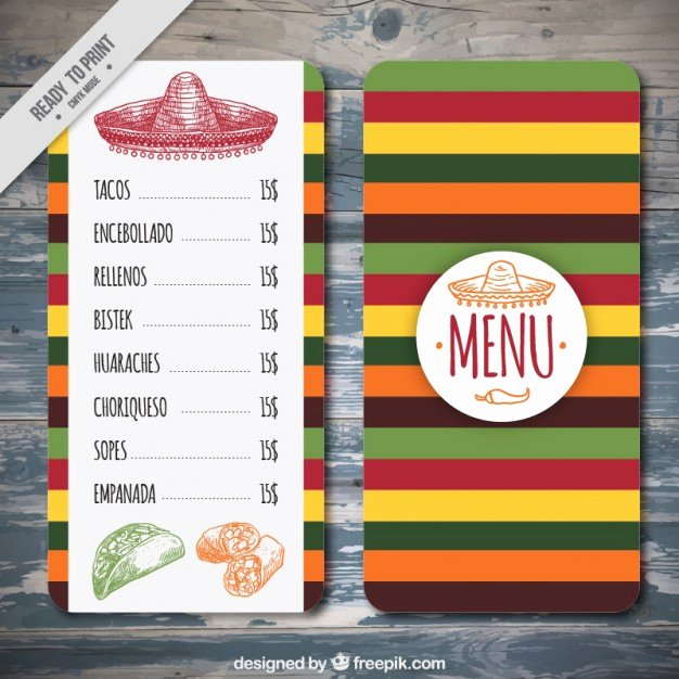 Mexican Restaurant Menu Template Unique Colorful Mexican Menu Template Vector