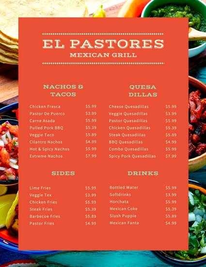 Mexican Restaurant Menu Template Unique Customize 68 Mexican Menu Templates Online Canva